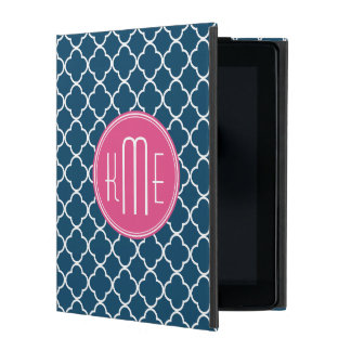 Elegant Navy Blue Quatrefoil with Pink Monogram iPad Case