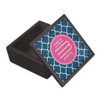 Elegant Navy Blue Quatrefoil with Pink Monogram Jewelry Box