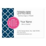 Elegant Navy Blue Quatrefoil with Pink Monogram Large Business Card