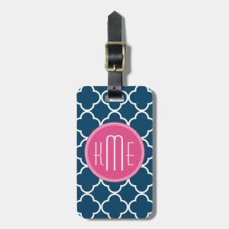 Elegant Navy Blue Quatrefoil with Pink Monogram Luggage Tag
