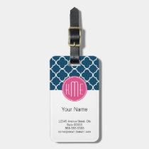 Elegant Navy Blue Quatrefoil with Pink Monogram Luggage Tag