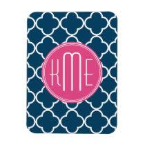 Elegant Navy Blue Quatrefoil with Pink Monogram Magnet