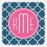 Elegant Navy Blue Quatrefoil with Pink Monogram Square Sticker