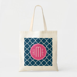 Elegant Navy Blue Quatrefoil with Pink Monogram Tote Bag