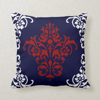 Elegant Navy Blue Red and White Damask Throw Pillows