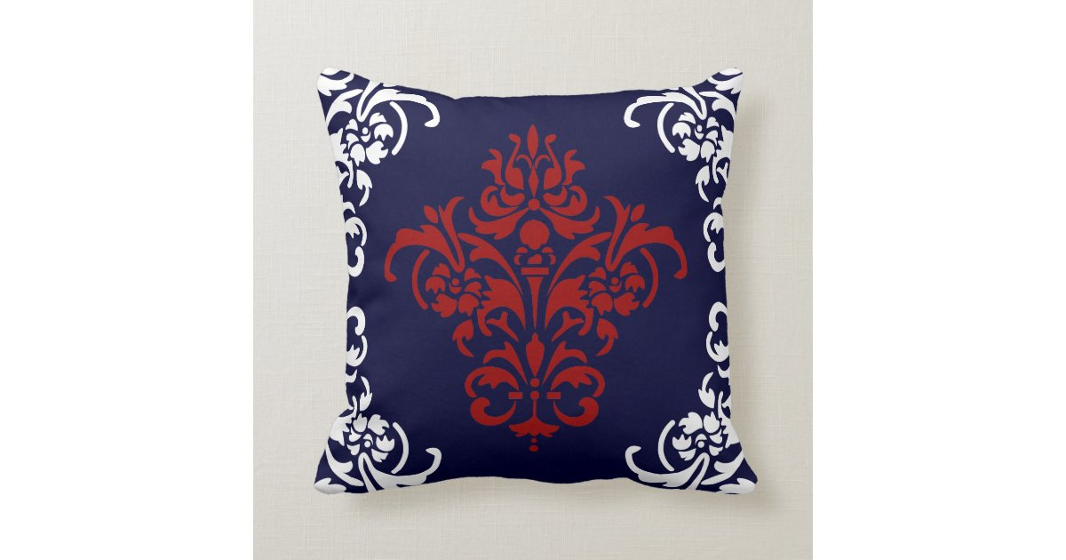 Elegant Navy Blue Red And White Damask Throw Pillow