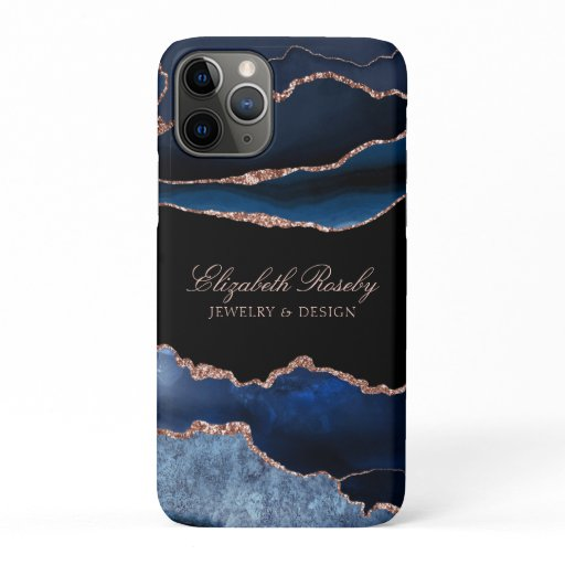 Elegant Navy Blue Rose Gold Agate Black Business iPhone 11 Pro Case