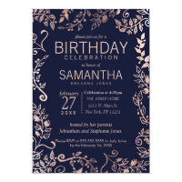 Elegant Navy Blue Rose Gold Floral Birthday Party Card