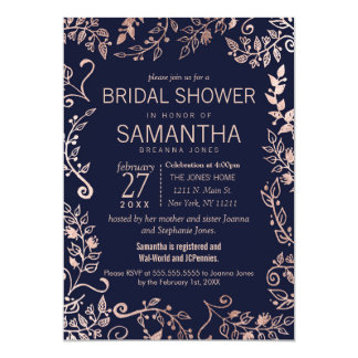 Elegant Navy Blue Rose Gold Floral Bridal Shower Card