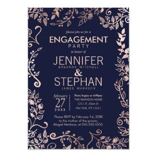 Elegant Navy Blue Rose Gold Floral Engagement Card