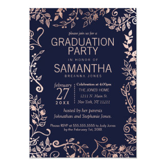 Elegant Navy Blue Rose Gold Floral Graduation Card
