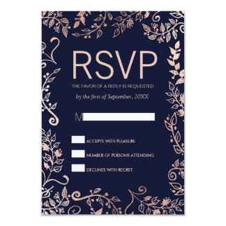 Elegant Navy Blue Rose Gold Floral RSVP Cards