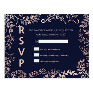 Elegant Navy Blue Rose Gold Floral RSVP Postcards