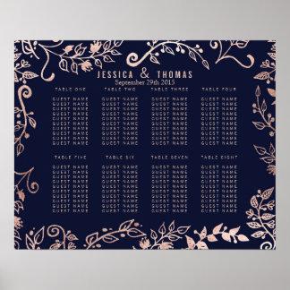 Elegant Navy Blue Rose Gold Floral Seating Chart