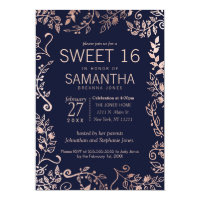 Elegant Navy Blue Rose Gold Floral Sweet 16 Invite
