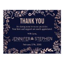 Elegant Navy Blue Rose Gold Floral Thank Yous Postcard