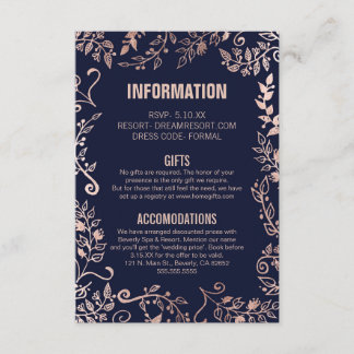 Elegant Navy Blue Rose Gold Floral Wedding Info Enclosure Card