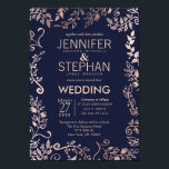 """Elegant Navy Blue Rose Gold Floral Wedding Invites<br><div class=""""desc"""">Elegant, modern, and chic faux rose gold and trendy navy blue floral hand drawn pattern, wedding invitations. This classic and sophisticated design is perfect for the trendy and stylish marrying couple. Personalize with your own message on the front as well as a customized monogram initial on the back. All photo...</div>"""