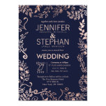 Elegant Navy Blue Rose Gold Floral Wedding Invites