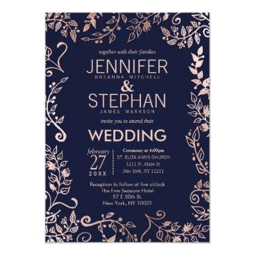 I_Invite_You Elegant Navy Blue Rose Gold Floral Wedding Invites