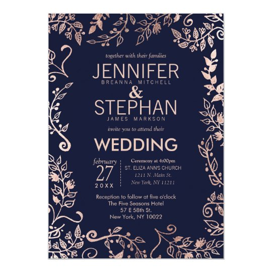 Elegant Navy Blue Rose Gold Floral Wedding Invites Zazzlecom