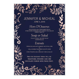 Elegant Navy Blue Rose Gold Floral Wedding Menu Card