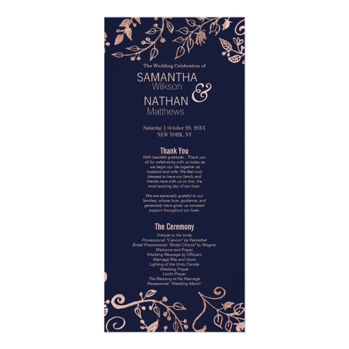 Elegant Navy Blue Rose Gold Floral Wedding Program : Zazzle