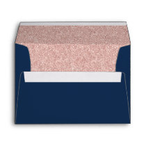 Elegant Navy Blue Rose Gold Glitter Modern Wedding Envelope