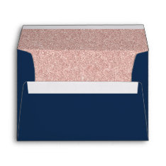 Elegant Navy Blue Rose Gold Glitter Modern Wedding Envelope at Zazzle