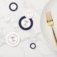 Elegant Navy Blue Rose Gold Palm Tree Wedding Confetti
