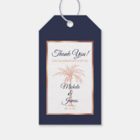 Elegant Navy Blue Rose Gold Palm Tree Wedding Gift Tags