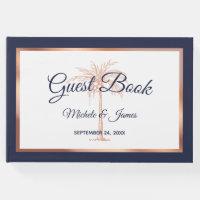Elegant Navy Blue Rose Gold Palm Tree Wedding Guest Book