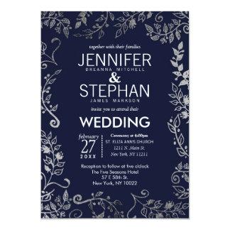 Elegant Navy Blue Rose Silver Floral Wedding Card