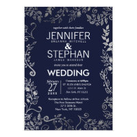Elegant Navy Blue Rose Silver Floral Wedding Invitation
