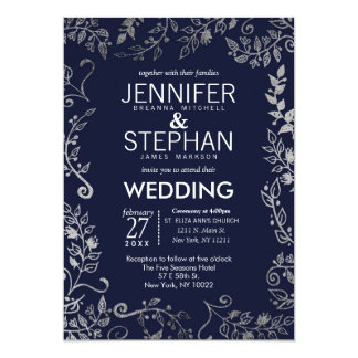 Elegant Navy Blue Rose Silver Floral Wedding Invitation