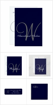 Elegant Navy Blue Simple Wedding Invitations