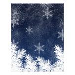 Elegant Navy Blue Snowflake Pine Winter Flyers