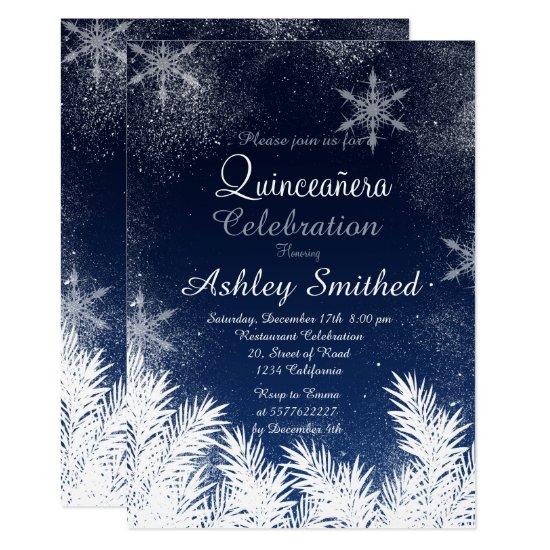 Elegant Navy Blue Snowflake Winter Quinceañera Invitation