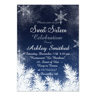 Elegant Navy Blue Snowflake Winter Sweet 16 5x7 Paper Invitation Card