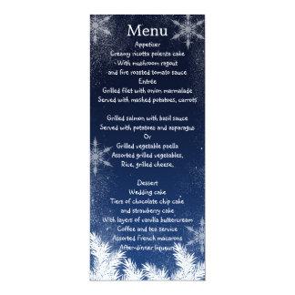 Elegant Navy Blue Snowflake Winter Wedding Menu 4x9.25 Paper Invitation Card