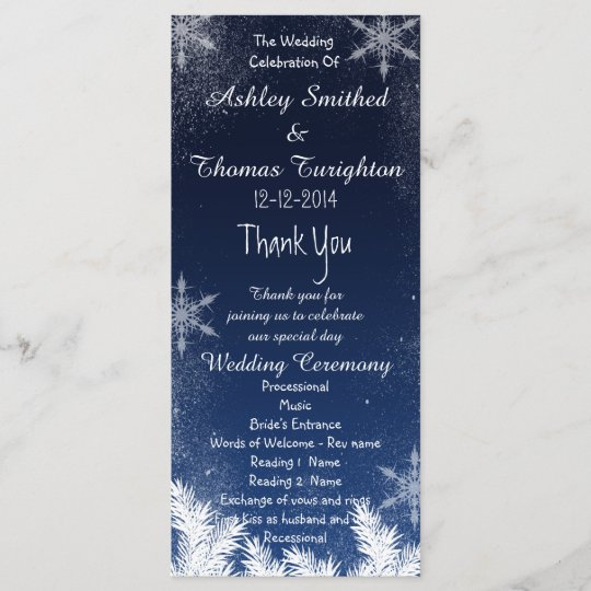 elegant navy blue snowflake winter wedding program zazzle com