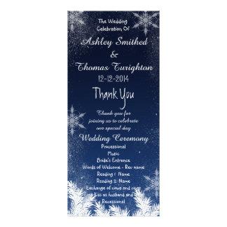 Elegant Navy Blue Snowflake Winter Wedding Program