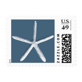 Elegant Navy Blue Starfish Beach Wedding Stamps