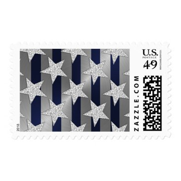 Professional Business Elegant Navy Blue Stripes and Silver Stars Postage