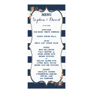 Elegant Navy Blue Stripes Wedding Menu Custom