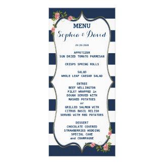 Elegant Navy Blue Stripes Wedding Menu Custom