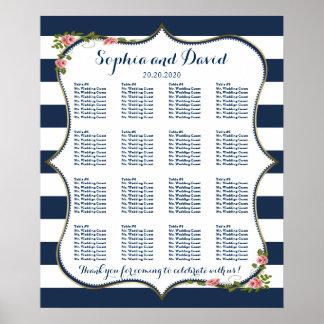 Elegant Navy Blue Stripes Wedding Seating Chart Poster