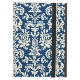 Elegant Navy Blue Vintage Floral Damasks Cover For iPad Air