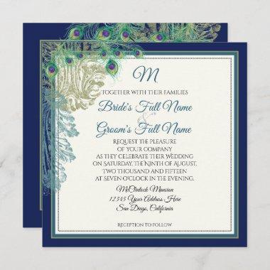 Elegant Navy Blue Vintage Peacock Feathers Wedding Invitation