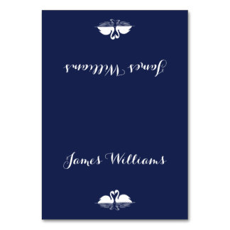 Elegant Navy Blue Wedding Place Cards With Swans